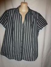 Plus Striped Career Button Down Shirt Tops & Blouses for Women