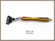 Handmade Colorgrain Wood D.E Safety Gillette Mach 3 Fusion Shaving Razor 960