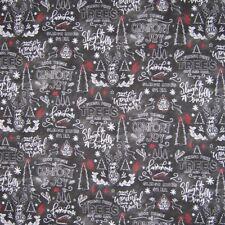 Christmas Fabric - Farmhouse Holiday Words on Chalkboard Gray - Cotton Yard