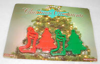 Christmas Ornaments Red Green 3 inch Holiday Trees Stockings Decoration Set 12
