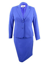 Le Suit Women's Plus Size Two-Button Crepe Skirt Suit (22W, Capri)