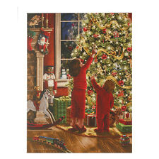 "FIBER OPTIC  24"" LIGHTED CANVAS CHILDREN DECORORATE CHRISTMAS TREE HANGING PRINT"