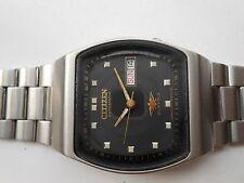 Excellent SS Vintage Black TV Dial Citizen 21J Mens Automatic WristWatch Rare