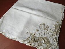 "Vintage Madeira Linen Tablecloth - Taupe embroidery cutwork floral 34"" square"