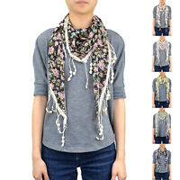 "65"" Floral Little Flower Triangle Spring Summer Scarf Lace Fringe Chiffon Cute"