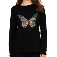 Velocitee Ladies Long Sleeve T-Shirt Psychedelic Neon Butterfly Colourful A20995