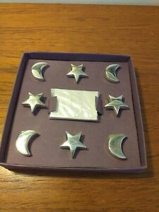 VINTAGE FRENCH SILVERPLATED MOON AND STARS NAME PLACE SETTINGS X 8