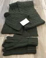Lands End (3 Piece Set) Knit Hat,Scarf,Gloves OliveGreen 95% Merino Wool NWOT C5