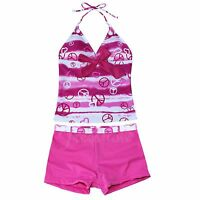 Girls Two Piece Tankini Swimwear Bikini Swimsuit Swimming Costume Age 2-16 Yrs