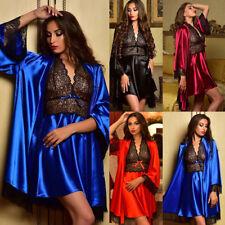2pcs Womens Slik Satin Lace Nightdress Sleepwear Babydoll Lingerie Pajamas Set