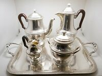 Superbe service à thé café 2 verseuses en argent massif Minerve 1er titre 1.6kg