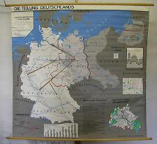 Schulwandkarte Wandkarte Deutschland BRD DDR SBZ Berlin Sowjetzone 156x154 ~1965