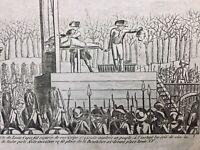 Rarissime Louis 16 guillotiné 1793 Gravure ancienne révolution Française Paris