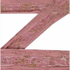 Vintage Sari Border Antique Hand Embroidered 2 Yd Indian Trim Ribbon Pink Lace