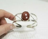 Vintage Embossed Silver Plate and Brown Jasper Stone Cabochon Cuff Bracelet