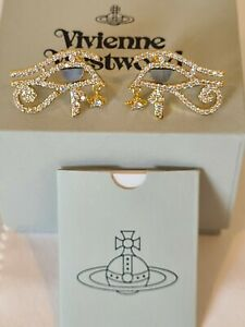 Vivienne Westwood Eye of Horus Gold tone Crystal Earrings New with the Box