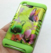 iPod Touch 4th Gen - HARD&SOFT SILICONE HYBRID ARMOR CASE GREEN BUTTERFLY FLOWER