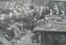 1892 Large Antique Print- British Politics- Treasury Bench at the New Parliament