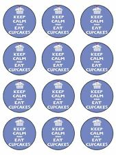"12 x Keep Calm And Eat Cupcakes 2"" Edible CupCake / Cake Toppers"