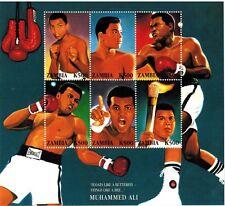 Zambia Muhammad Ali Rare Spelling Error Stamp Sheet of 6