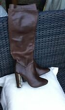 BNWOB TOPSHOP HIGH HEEL BROWN REAL LEATHER LONG BOOTS SIZE UK 6 - RRP £120
