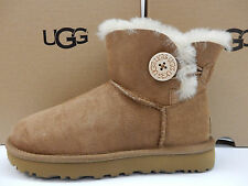 UGG WOMENS BOOTS MINI BAILEY BUTTON II CHESTNUT SIZE 8