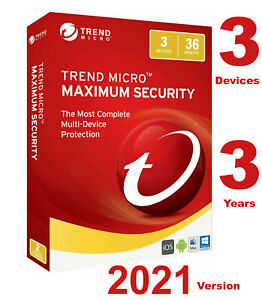 Trend Micro Maximum Security 2021 - 3 Years 3 Devices for PC, Mac, Android or iO
