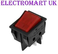 DPST ILLUMINATED NEON RED ROCKER SWITCH ON OFF 10 AMP 250 VOLT AC