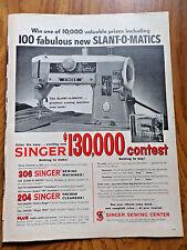 1958 Vintage Singer Sewing Machine Contest Ad    Slant-O-Matics