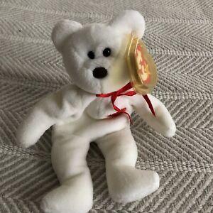 TY VALENTINO Beanie Baby Bear w/Stitching &Tag Errors & Brown Nose EUC RARE