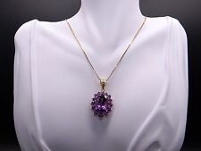 14k Yellow Gold 15ct Purple Oval Cut Amethyst Cluster Pendant Necklace 20 inch