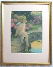 Orig*1920s*Bessie Pease Gutmann*Butterfly Print*Framed*Pink Flowers*Angel Cherub