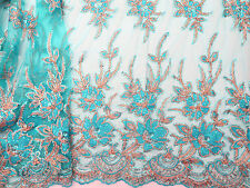 SALE Turquoise Sequin Scall Bridal TuTu Dress Stage Dance Fabric #10BE19B 50 cm