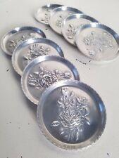 (8) Vintage Mid Century Aluminum Coasters ~ 3D Roses Stacking Aluminum Coasters