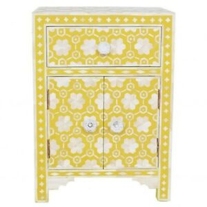 Bone inlay Floral drawer bedside lamp table Yellow (MADE TO ORDER)