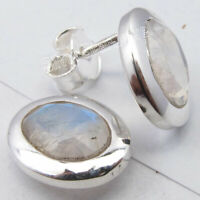 "925 Solid Silver Blue Rainbow Moonstone Ear Stud Earrings 0.4"" Ladies Jewelry"
