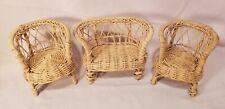 Vintage Dollhouse miniatures wicker furniture lot-3