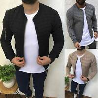 Mens Bomber Quilted Padded Jacket Casual Sport Long Sleeve Slim Fit Zipper Coat