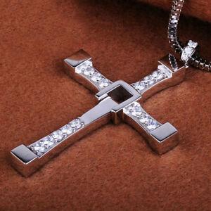 XXL Fast and Furious Halskette Edelstahl Silber Kreuz Geschenk 60cm TOP-Qualität