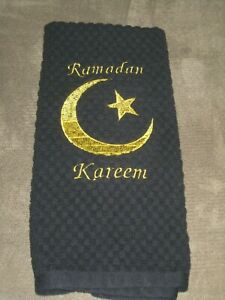"COTTON black gold embroidered hand kitchen towel RAMADAN EID decor ISLAM 15X27"""