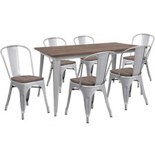 """30.25"""" x 60"""" Silver Metal Restaurant Table Set with Walnut Wood Top and 6 Chairs"""