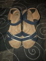 Earth Origins Gaven Womens Leather Buckle Adjustable Sandals Size 11 M Blue