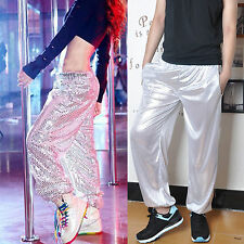 Wholesale Women Men's Sequin Casual Loose Pants Hip-hop Jazz Dance Trouser L-2XL