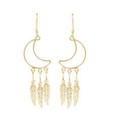 Moon Outline Chandelier Feathers 14K Yellow Gold Over Dangle Earrings