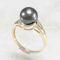 14k Solid Yellow Gold Genuine AAA Black Cultured Pearl Cocktail Diamond Ring TPJ