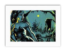 Escena De Terror Monstruo Stalker Bosque Luna grito Cartel Pintura Lienzo Arte