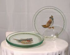 "4 LYNN CHASE 9"" GLASS PLATES PHEASANT WOOD DUCK WOODCOCK GROUSE GREEN TRIM EUC"