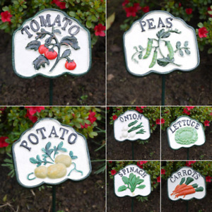 Hand-Painted Cast Iron Vegetable Plot/Patch Signs with Green Stakes - Tomato etc