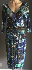 Stunning STUDIBAKER Multi Colour Print 3/4 Sleeve Stretch Wrap Dress Size 12