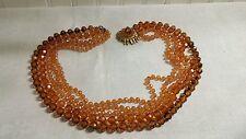 """Vintage Selini 5 Strand Goldtone Metal Amber AB Plastic Bead 23"""" Necklace"""